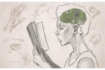 Library card design with a line drawing of a young woman reading a book. The young woman's brain looks like a green processor chip.