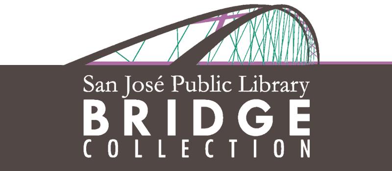 文本: San Jose Public Library 桥集合。 插图:在文本上的拱形的桥。