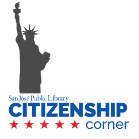 San Jose Public Library Rincón de la ciudadanía - silueta de la estatua de la libertad