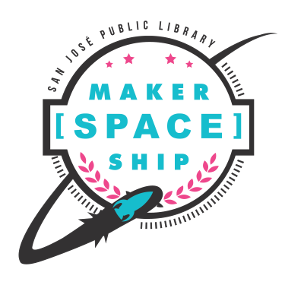 Maker[Space]Ship logo featuring a rocket ship circling behind, then to the front