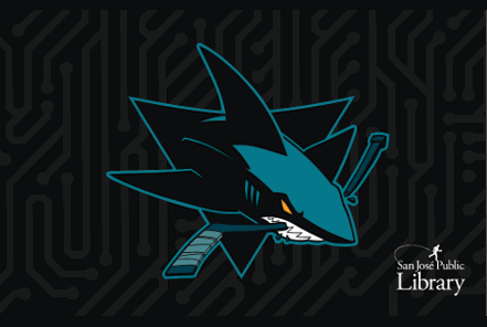 San Jose Shark mascot crunching a hockey stick while emerging out of a black motherboard background. Text: San Jose Public Library.