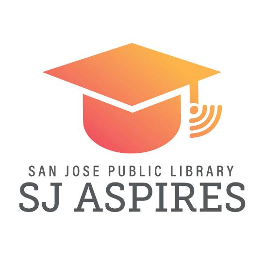 SJ Aspires logo: icono de gorro de graduación naranja-rojo