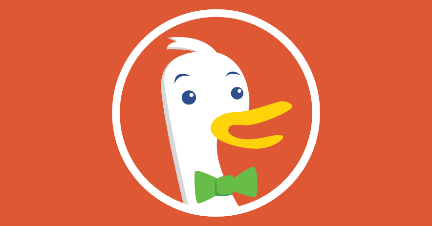 The DuckDuckGo duck, smiling and wearing a green bowtie.