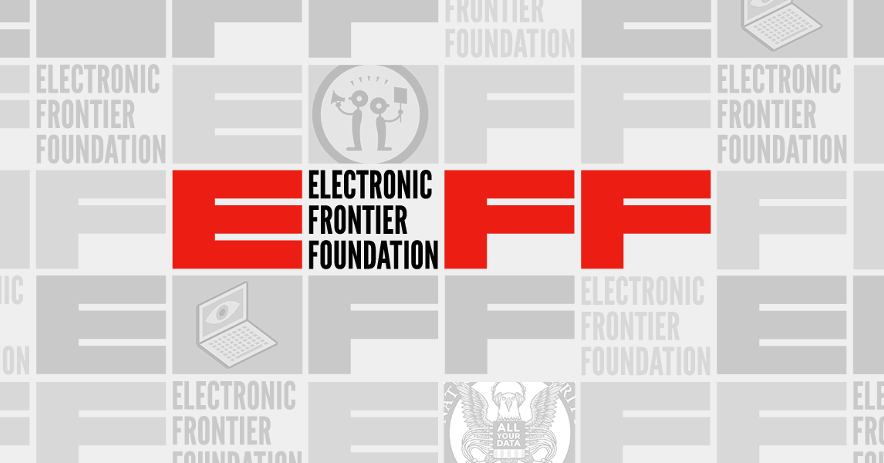 EFF icons with various privacy-related icons. Text: Electronic Frontier Foundation
