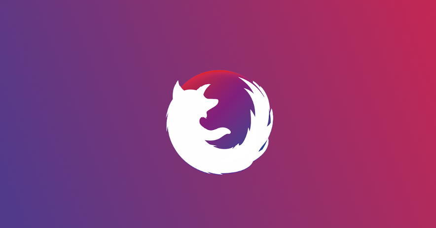 Firefox icon curved into an orb on a linear gradient, purple to red background.