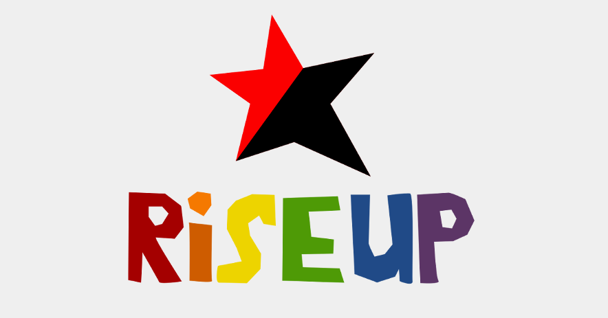 Black and red star. Text in rainbow letters: Rise Up.