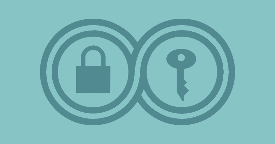 Surveillance Self Defense icon: infinity symbol surrounding a padlock and key.