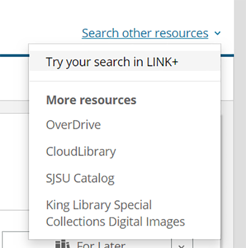 expanded 'Search other resources' menu in the Bibliocommons catalog showing the 'Try your search in Link+' link