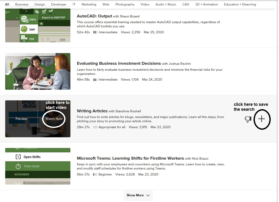 This screenshot of an example of courses offered on Lynda.com with notes of functions.