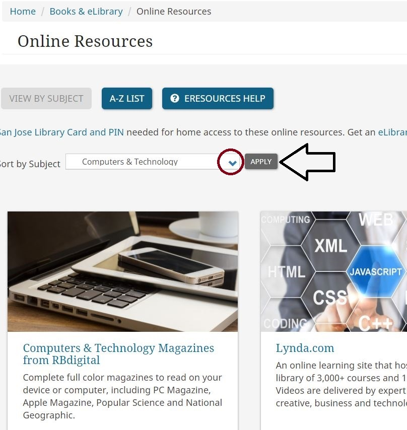 This images shows the Online Resources web page with the subject search bar. The downward arrow has been circled and an arrow points to the apply button.