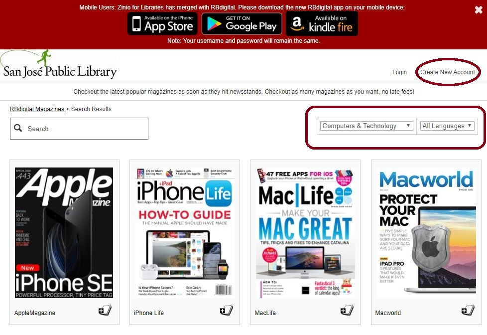 This images shows the RBdigital website homepage with the Create New Account and magazine options highlighted.