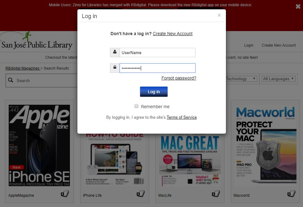 This images shows the pop-up window when users click on the Login link on the RBdigital homepage.