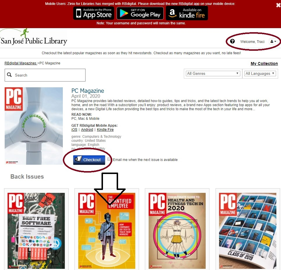 This image shows a selected magazine with a circle around the username, an arrow to a back issue of the magazine, and a circle around the checkout button.