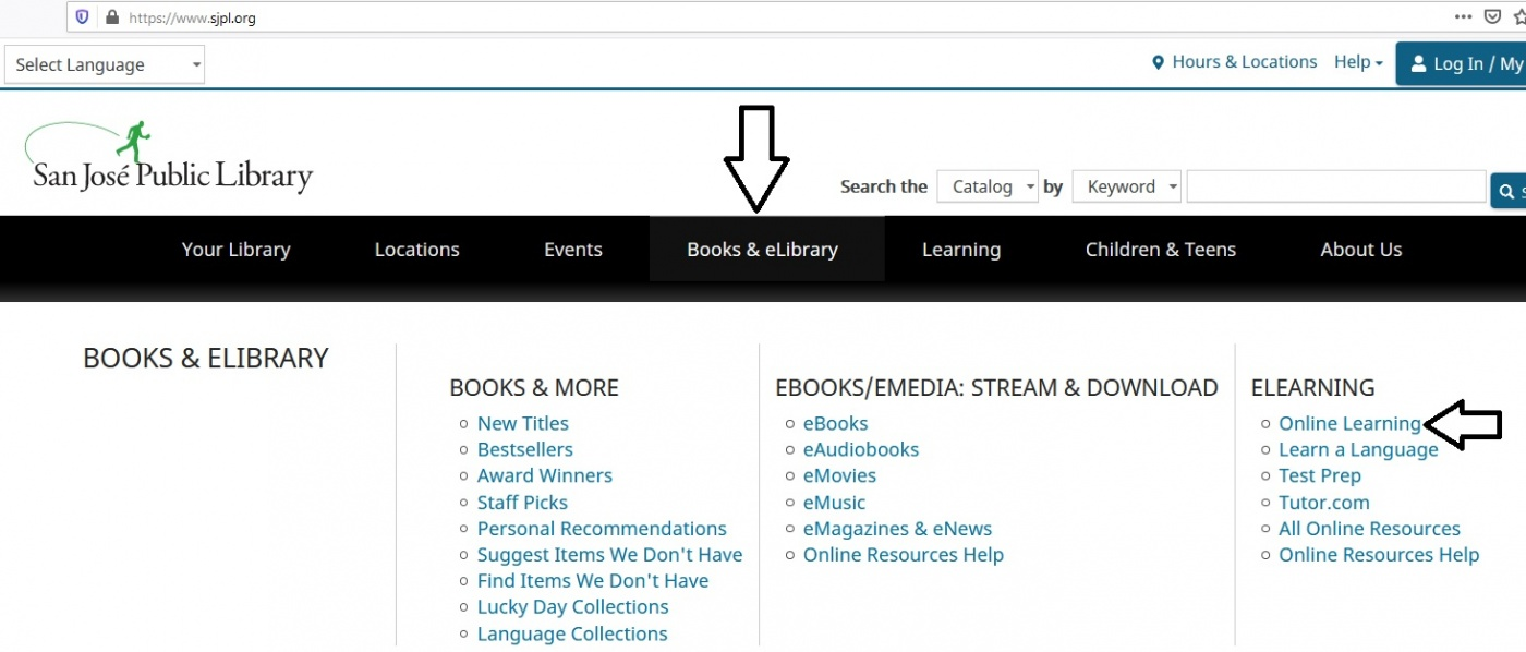 This image is a screenshot of the San Jose Public Library home page. I have included arrows to the tab and link that users will need to access Lynda.com.