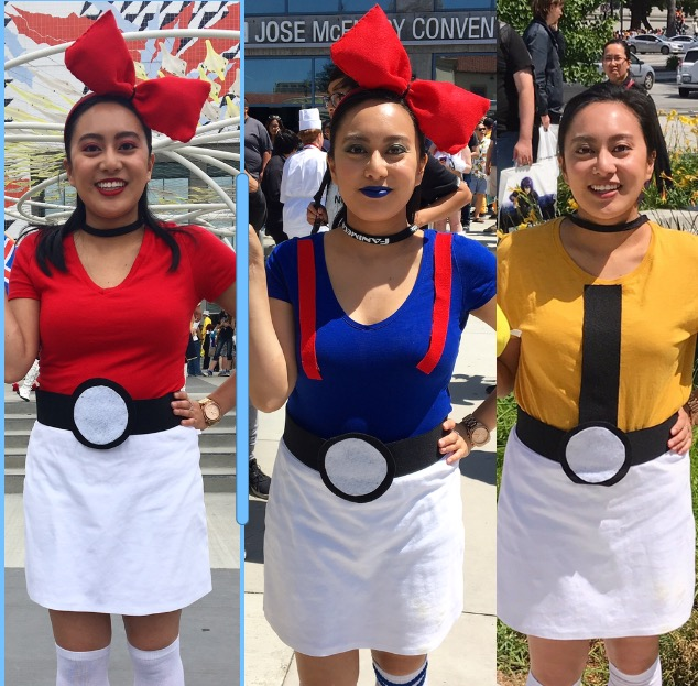 Alyssa dressed up as pokeballs