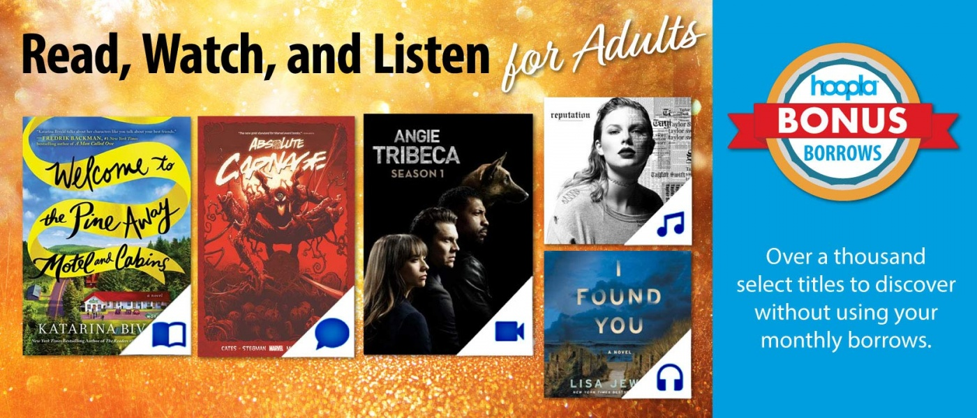 A variety of book, movie, and music album covers helping advertise Hoopla's Bonus Borrows program.