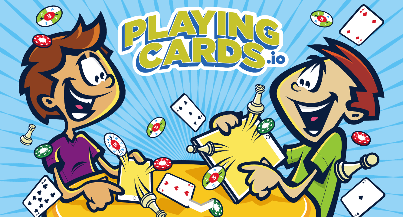 Illustration of two people excitedly playing cards and board games together.