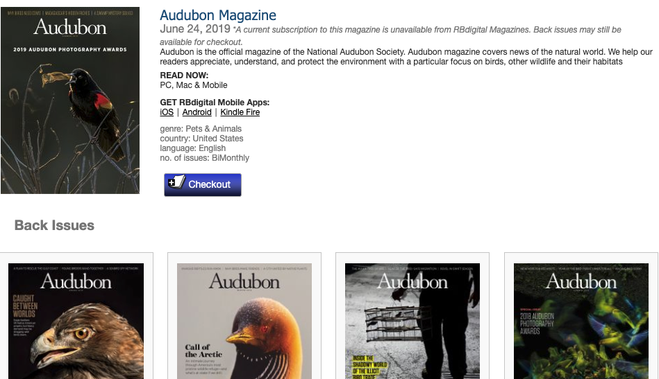 A screen capture of the resource RB Digital and its collection of Audubon Magazine issues with a variety of magazine covers each featuring striking photos of different birds.