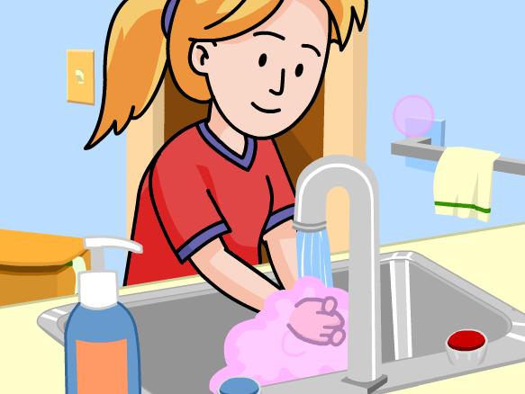 Chica de dibujos animados lavarse las manos en el fregadero.