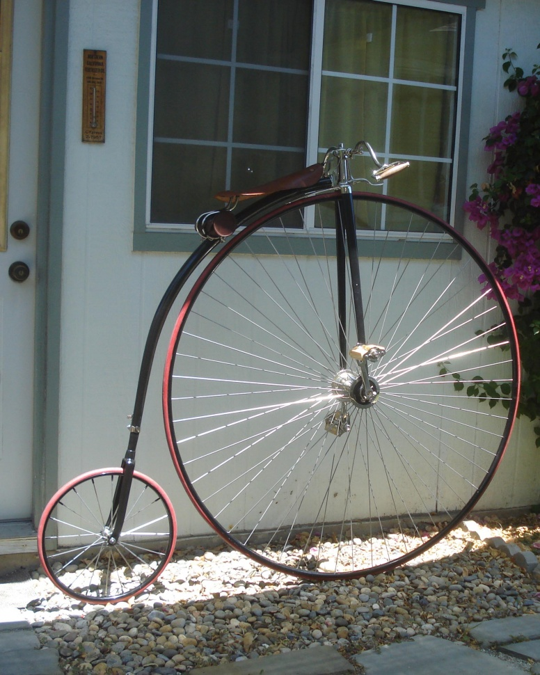 Image: Ralph's restored 1887 Gormully & Jeffery high wheel bicycle. Photo by Ralph Pearce
