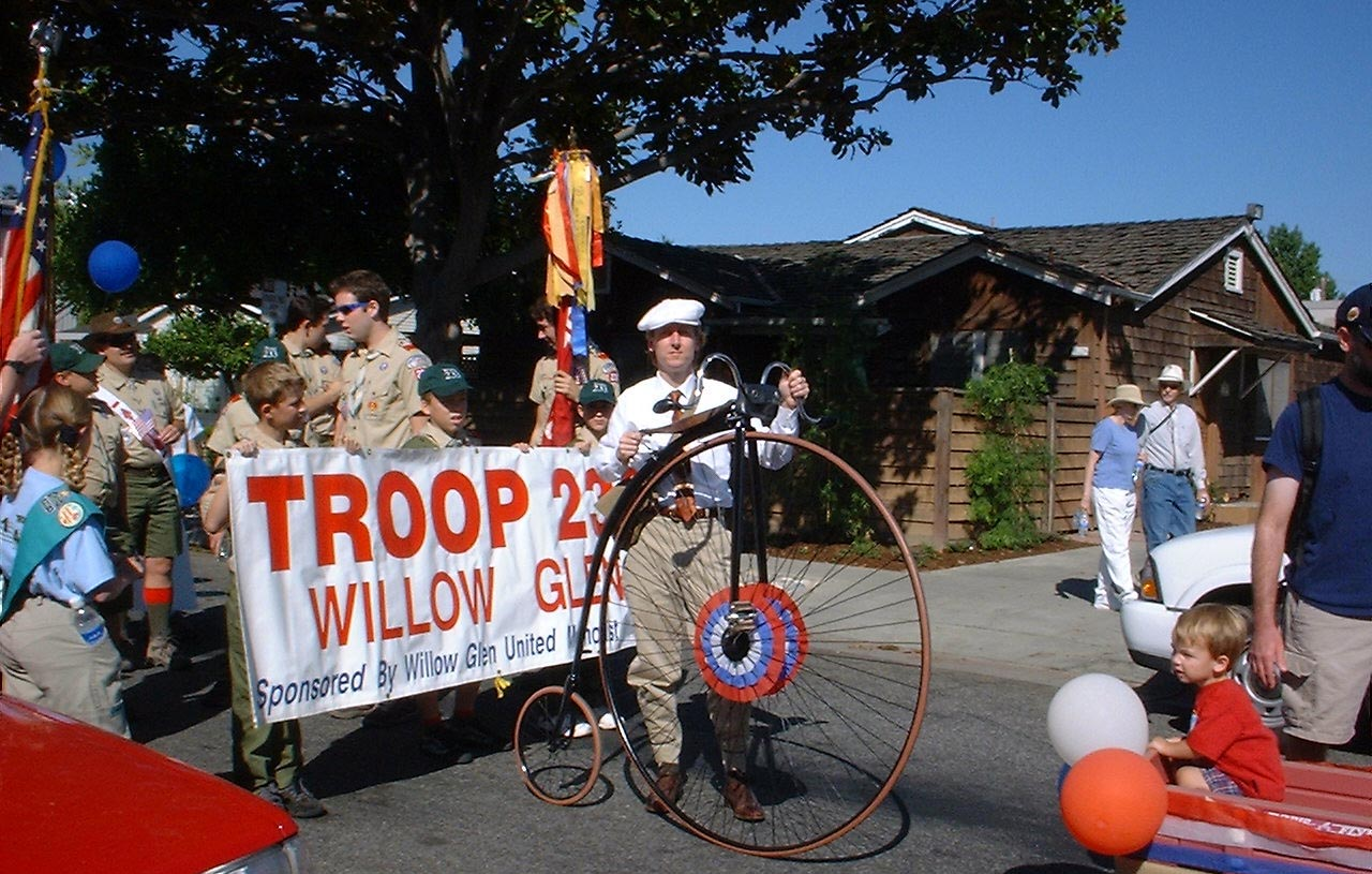 Image: Ralph poses with his Columbia Expert high wheel bicycle at the 2002 Willow Glen Founders Day Parade.