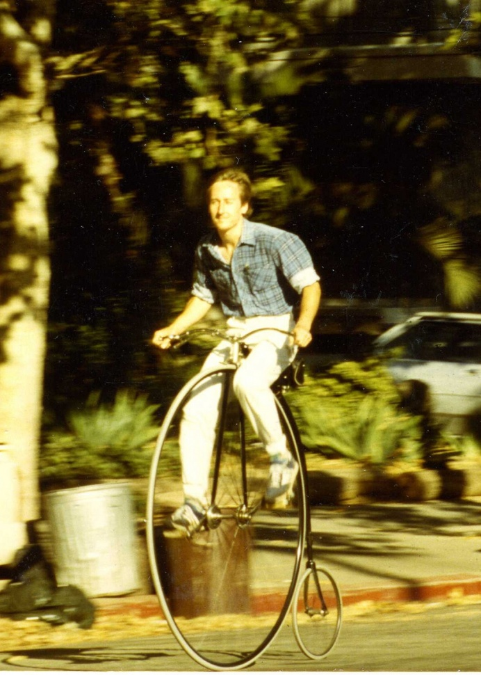 Image: Ralph riding his Columbia Light Roadster high wheel bicycle in 1987. Photo by Winfried Hauser