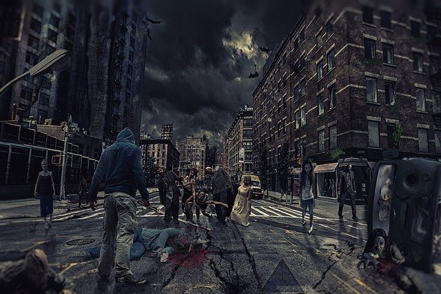 Apocolyptic city street with zombies roaming