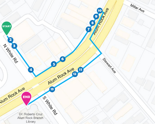 Digital map of the StoryWalk route, which has 14 stops and is located on Alum Rock Avenue and White Road.