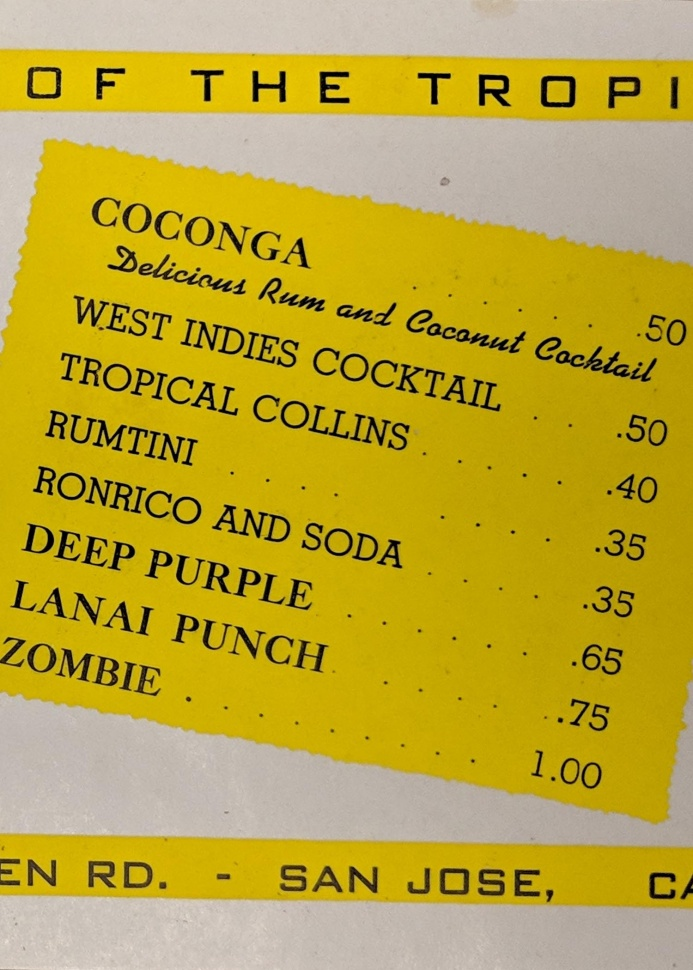 Detail of a Club Lanai drink menu from 1942.
