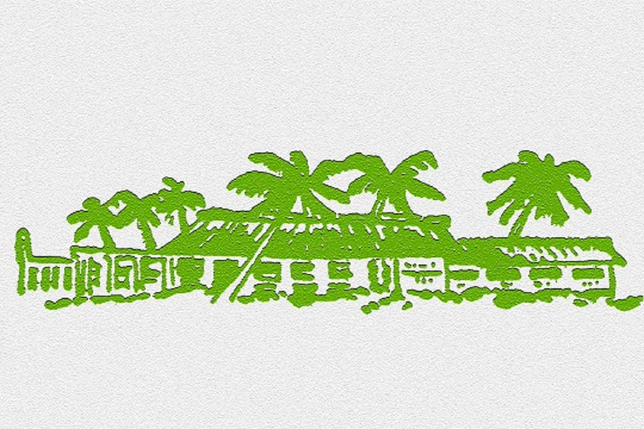 Artwork of green club building and palm trees.