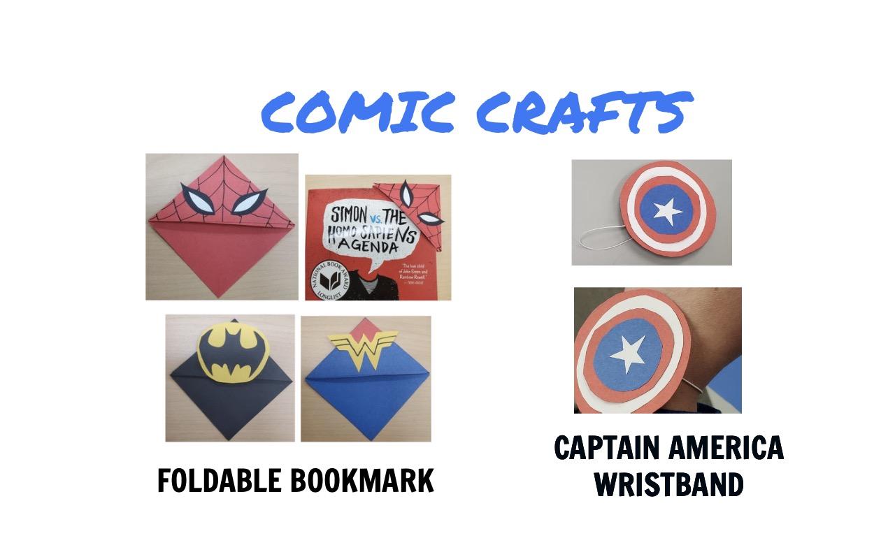 fotos de dos manualidades cómicas, incluido un marcador plegable y una pulsera del Capitán América.