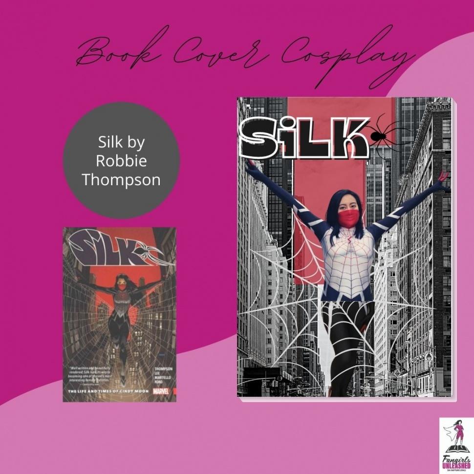 Cosplay de portada de libro de seda