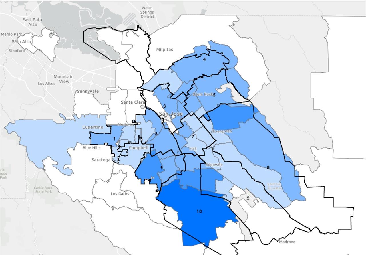 Un mapa de San José con códigos postales sombreados en azul.