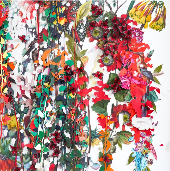 Detalle de la obra de arte de Ebony G. Patterson presentada en el Instituto de Arte Contemporáneo de San José