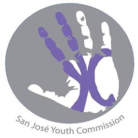 """聖何塞青年委員會標誌 - 帶有紫色字母""""YC""""的手"""