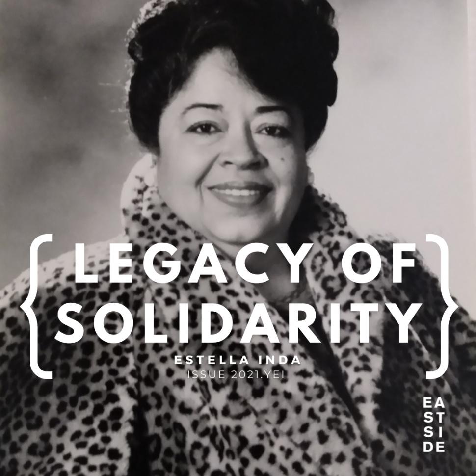 """Foto de perfil de Sofia Mendoza. Texto: """"Legado de solidaridad"""" de Estella Inda de la revista Eastside."""