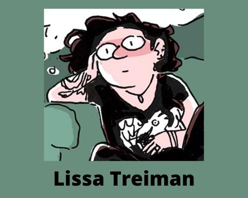 Autorretrato de Lissa Treiman en un estilo de dibujos animados, sentada con una mano en su regazo y una mano sosteniendo su cabeza.
