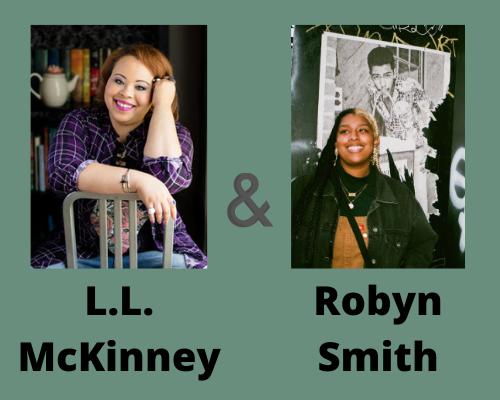 LL McKinney y Robin Smith, LL McKinney está sentado en una silla al revés, sonriendo y Robyn Smith mira a lo lejos, sonriendo.