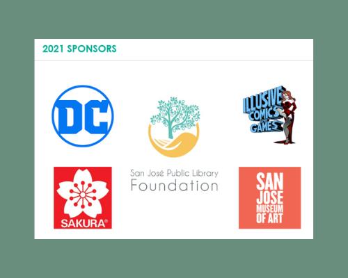Logotipo de DC Comic, logotipo de Sakura of America, San Jose Public Library Logotipo de la Fundación, Logotipo de Illusive Comics & Games, Logotipo del Museo de Arte de San José