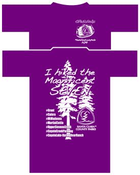 purple t-shirt, front and back
