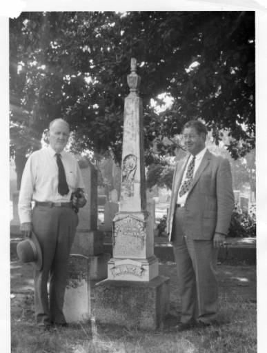 Clyde Arbuckle and man in cemetary