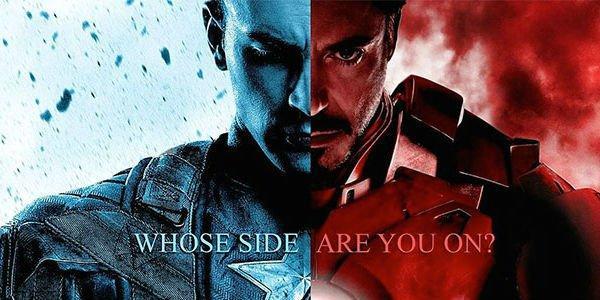 キャプテンのバナー。 アメリカとアイアンマンの言葉で、あなたはどちらの側にいますか?