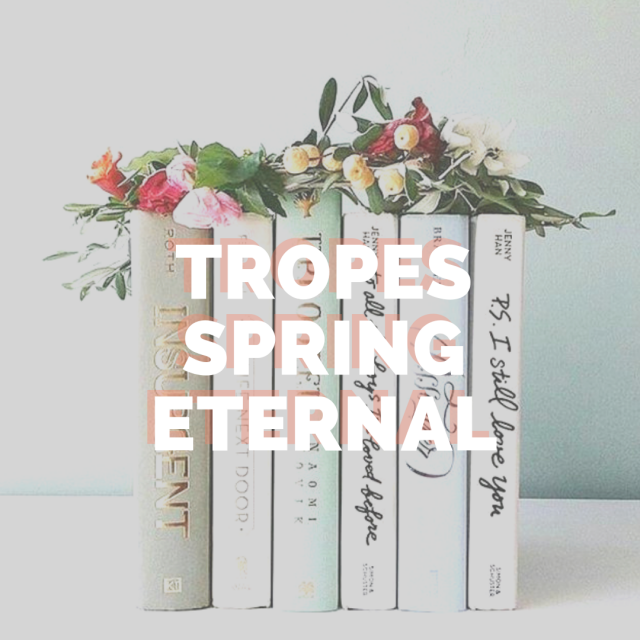 The words Tropes Spring Eternal in front of books with flowers on top