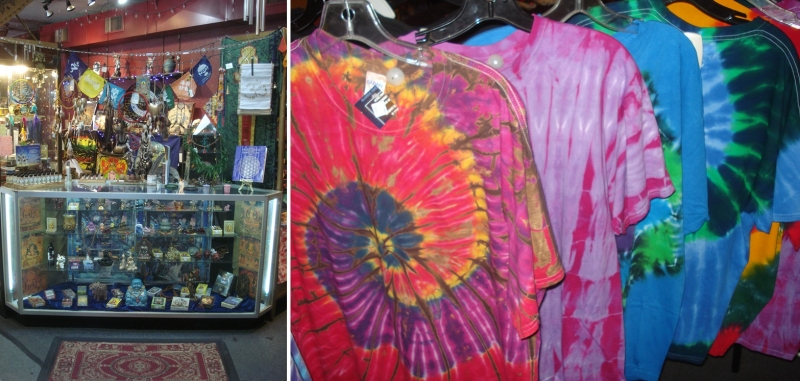 Image:  The tie-dye shirts seem even more colorful than they were back in the day.  Other staples of the old import shops were bumper stickers, patches, and pinbacks with social, political, environmental and generally philosophical messages.  Photos ©Ralph M. Pearce