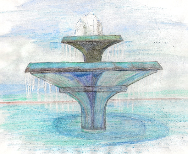 watercolor pencil sketch of the two-tiered fountain at the Municipal Rose Garden