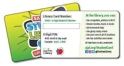 Student Library Card, front and back, for Alum Rock Union School District.