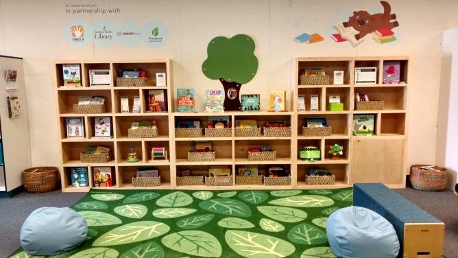 橱柜中的桥梁图书馆收藏,配有舒适的家具和绿叶大地毯