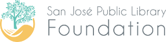 San Jose Public Library Foundation logo - hand with tree growing from it