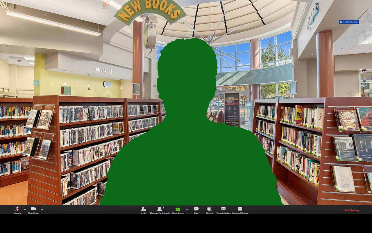 Zoom Virtual Background showing the interior of Village Square branch.