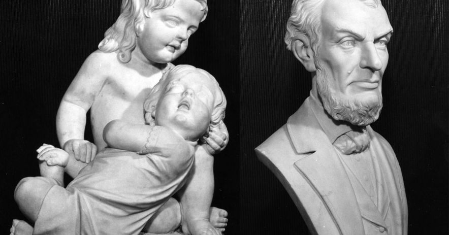 "Edmonia Lewis sculptures, ""Asleep"" and ""Lincoln"""